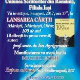 Lansare de carte: Mărăşti, Mărăşeşti,Oituz – 100 de  ani